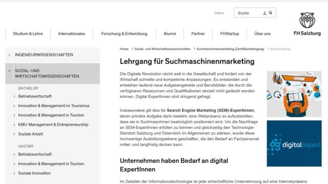 FH Salzburg – Zertifikatslehrgang Suchmaschinenmarketing 2018