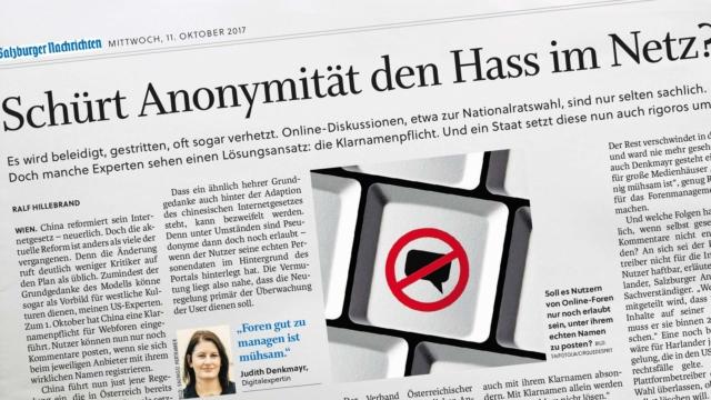 """Salzburger Nachrichten """"Schürt Anonymität den Hass im Netz?"""""""