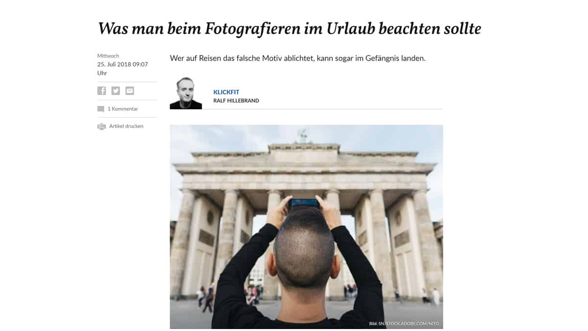 Salzburger Nachrichten: Ins Gefängnis wegen Urlaubsfotos?