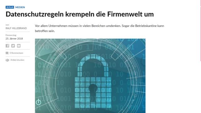 Salzburger Nachrichten: Datenschutzregeln krempeln die Firmenwelt um
